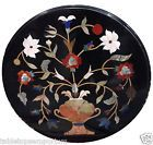 "15"" Marble Black Center Coffee Table Top Marquetry Handmade Furniture Art Decor"