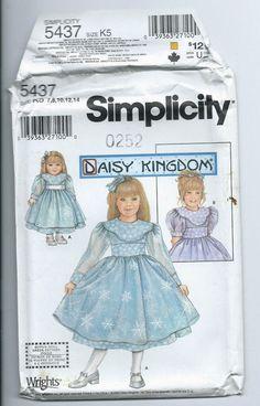 new UNUSED 7 8 10 12 14 child dress +doll pattern Daisy Kingdom Simplicity 5437 #Simplicity