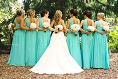 Tiffany blue wedding Love the picture set up. Maybe have the bride holding her bouquet straight up? Tiffany Blue Bridesmaids, Tiffany Blue Weddings, Tiffany Wedding, White Weddings, Wedding Wishes, Wedding Pics, Wedding Bells, Wedding Dresses, Wedding Ideas