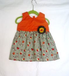 Baby Girl Dress  Orange tossed flowers  Toddler by LoopsyBaby, $27.00