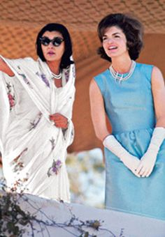 Maharani Gayatri Devi with Jacqueline Kennedy in 1962, from article 'Princess Grace' on her @ W Magazine