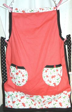 Apron  Lady's  Reversible Cherries by TeriClothCreations on Etsy, $55.00