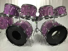 VINTAGE 1970'sSLINGERLAND DOUBLE BASS DRUM KIT in the rare LAVENDER SATIN FLAME PEARL8 x 12 TOM - SERIAL NO. 981069 x 13 TOM - SERIAL NO. 9696810 x 14 TOM - SERIAL NO. 9811710x 15 TOM - SERIAL NO. 9693916 x 16 FLOOR TOM - SERIAL NO. 9783114 x 22 BASS DRUM - SERIAL NO. 9801714 X 22 BASS DRUM -...