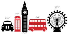 London wall decals City Pack of 5 iconic london by VanFlute