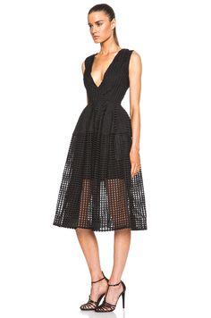 Image 2 of NICHOLAS Grid Lace Deep V Ball Dress in Black