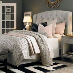 HGTV Home Custom Upholstered Paris Arched Winged Bed by Bassett Furniture contemporary-bedroom Gray Bedroom, Home Bedroom, Bedroom Ideas, Feminine Bedroom, Bedroom Setup, Blush Bedroom, Pink And Silver Bedroom, Target Bedroom, Glam Master Bedroom