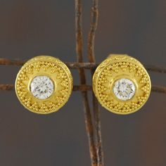 Solid genuine 22K yellow GOLD stud earring pair with Diamonds & decorated with Bali granulation work $2450