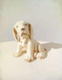 Vintage Porcelain Dog Figurine Shabby Chic Cream Labrador Retriever Puppy.