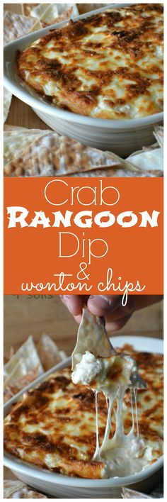 Crab Rangoon Dip With Wonton Chips Skip the takeout menu, and still enjoy the flavors of your favorite to go dish without the wait. Served with homemade 'chips', this Crab Rangoon Dip with Wonton Chips is an easy, creamy dip that tastes jus Asian Appetizers, Appetizer Dips, Appetizer Recipes, Seafood Appetizers, Healthy Dip Recipes, Holiday Appetizers, Wonton Chips, Crab Rangoon Dip, Crab Dip