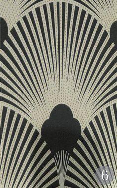 Gold and black fan pattern Art Deco wallpaper