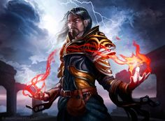 """Wizard by JoshCalloway   Digital Art / Drawings & Paintings / People / Fantasy   Character class mage pyromancer   Author's note: """"Card art for dueloflegendsgame.com/ """""""