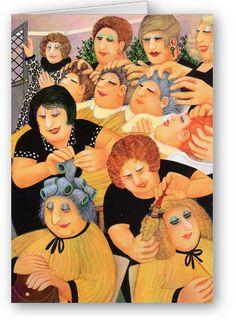 Beryl Cook - Hair Bells - Pack of five, single design Beryl Cook, English Artists, British Artists, Folk, Plus Size Art, Salon Art, Naive Art, People Art, Types Of Art