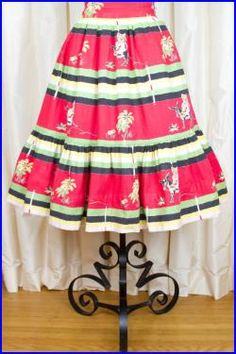 Skirt Mexican on Donkey Novelty Print Full Tiered Skirt Vintage Clothing, Vintage Outfits, Mexican Costume, 1950s Skirt, Under The Skirt, Novelty Print, Stripe Skirt, Donkey, Printed Skirts