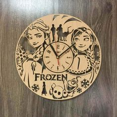 Frozen Wall Wood Clock  $31.99  Size - 12 in / 30 cm  Really cool gift and unique home decoration ;)  Can be personalized for free ;)  Free Shipping WORLDWIDE.  Tracking ID is provided.  In case the clock comes broken or with defect, I will make you a refund or will send you a replacement!