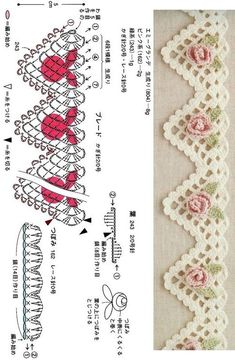 Crochet Cowl Free Pattern, Crochet Motif Patterns, Crochet Lace Edging, Crochet Leaves, Crochet Diagram, Crochet Boarders, Crochet Chart, Filet Crochet, Crochet Designs