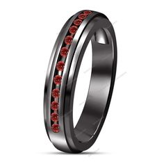 STUNNING Cute Red Garnet Channel Set 14k Black Gold Plated Women's Band Ring…