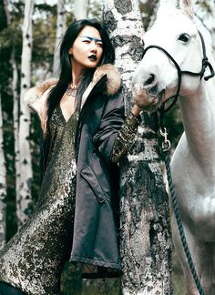 Evening gown, face paint and a white horse... Flare magazine, you never let me down. So good.