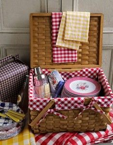 Picnic basket wedding gift idea! Fill it with a blanket, plates, wine, wine glasses, summer sausage, crackers, chocolates, etc.