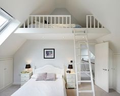 Cute Bedroom Ideas for 13 Year Olds Traditional Bedroom with Loft Bedroom in Lon. Cute Bedroom Ideas for 13 Year Olds Traditional Bedroom with Loft Bedroom in London by Dyer Grimes Mezzanine Bedroom, Loft Room, Bedroom Ceiling, Bedroom Loft, Dream Bedroom, White Bedroom, Attic Loft, Bed Room, Mezzanine Loft