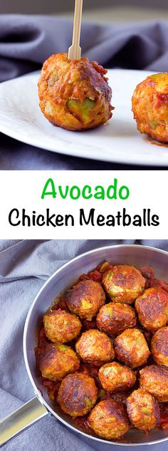 Avocado Chicken Meatballs in Spicy Tomato Sauce - Perfect as an appetizer, slider, or main dish.