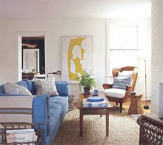 Tom Scheerer living room in Sag Harbor, Martha Stewart Living, Sept 2013