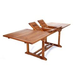 All Things Cedar: 72-in x 36-in Natural Oil Teak-Frame Extendable Rectangle Patio Dining Table --Lowes ($980)
