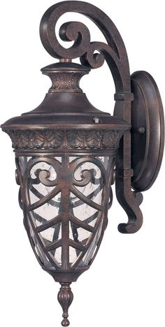 """Nuvo 60-2056, 1-Light Small Outdoor Wall Lantern (Arm Down) in Dark Plum Bronze Finish and Clear Seeded Glass. Fixture Type Outdoor Wall Light Style Transitional Finish Dark Plum Bronze Width 7.5"""" Hei"""