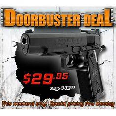 40% off this realistic, full size 1911, 20 round BB gun http://www.pyramydair.com/s/m/Tanfoglio_Witness_1911_CO2_BB_Pistol_Black_Grips/1558?utm_source=pinterest_medium=social_campaign=airg-eblast-doorbuster-deal-witness-1911-co2-bb-pistol