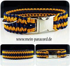 """Paracord Halsband """"Wide"""" in Goldgelb und Midnight Blue. Mehr auf : www.mein-paracord.de"""