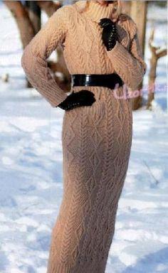 Длинное зимнее платье спицами