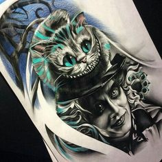 Wow this is an incredible Alice in Wonderland Tattoo Alice In Wonderland Tattoo Sleeve, Alice In Wonderland Drawings, Cheshire Cat Alice In Wonderland, Alice And Wonderland Quotes, Alice Tim Burton, Trendy Tattoos, Unique Tattoos, Tattoo Sleeve Designs, Sleeve Tattoos