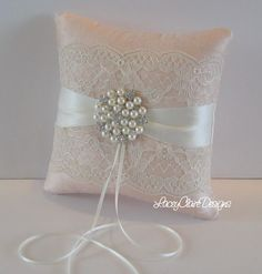 Lace Ring Bearer Pillow for wedding - made from dupioni silk. $49.00, via Etsy.