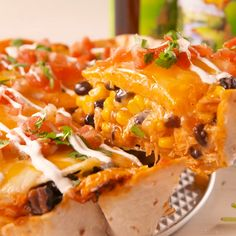 Our layered chicken enchilada pie is full of cheese, corn, beans, and all of your favorite Mexican flavors. Chicken Enchilada Pie Recipe, Mexican Chicken Recipes, Enchilada Recipes, Chicken Enchiladas, Mexican Dishes, Recipe Chicken, Mexican Pie, Best Enchilada Sauce, Veggie Recipes