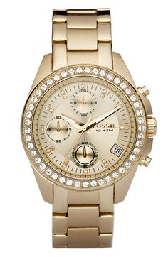 Free shipping and returns on Fossil Crystal Topring Watch, 38mm at Nordstrom.com. Swarovski crystals illuminate the chronograph dial and topring of a stylish gold-plated watch finished with a classic bracelet band.
