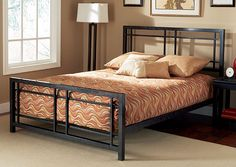 Complete your bedroom with this luxurious Bryant queen-size bedComfortable bed is made with sturdy and elegant powder-coated solid steelSteel-framed bed is sure to enhance your home decor