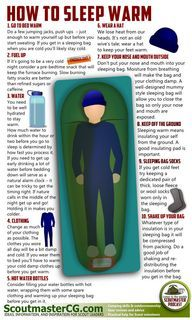 How to sleep warm http://scoutmastercg.com/sleep-warm-while-camping/