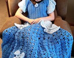 Princess Dress Blanket, blue, crochet pattern, Digital Download, PDF only, toddler, child, and adult sizes