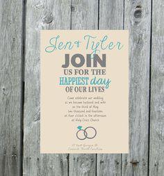 Rings Wedding Invitation aqua wedding invite by LilyMothDesign