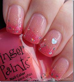 From Nail Treasures: KleanColor Sheer Peach + Finger Paints Rose Patina + Sally Girl Sparkle + China Glaze Fairy Dust + Wet n Wild Kaleidoscope + Revlon Stunning + random heart holographics