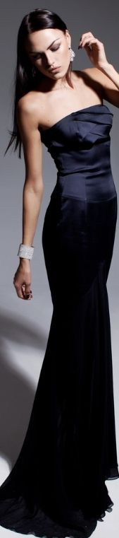 Black is Black #gown #satin  Olesya Malinskaya Spring 2013