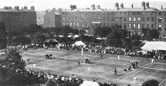 fitzwilliam square dublin gardens tennis - Google Search Old Pictures, Old Photos, Dublin Street, Photo Engraving, Ireland Homes, Dublin Ireland, 18th Century, Dolores Park, Gardens