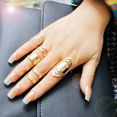Zinc Alloy Gold Plated Ring Set for 5pcs Fashion Europe Popular Style Gold Color Set Ring