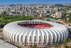 Membrane Structure, Shade Structure, Soccer Stadium, Football Stadiums, Sc Internacional, Time Do Brasil, Stadium Architecture, Fantasy City, Bridge Design