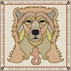Bear tracks are said to be a good omen. Blackwork Patterns, Blackwork Embroidery, Needlepoint Kits, Painted Boxes, Cool Names, Tribal Art, Rainbow Colors, Cross Stitch, Colours
