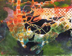 """Cat Tangle"" by Sharon Giles original acrylic monotype"