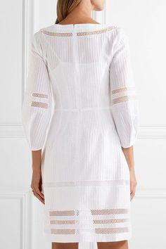 Oscar de la Renta - Crochet-trimmed Textured Cotton-blend Dress - White - US14