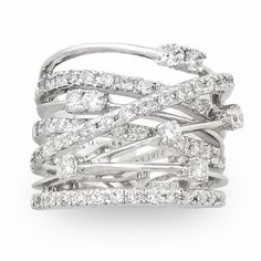 JanKuo Jewelry Silver Tone Cubic Zirconia Wide Band Cocktail Ring with Gift Box