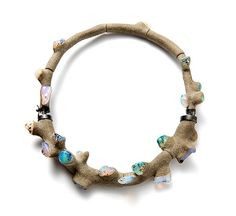 Terhi Tolvanen Necklace: Coral Ciment, 2011 Opal, heather wood, silver, cement Ø 20 cm
