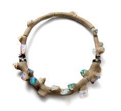 Terhi Tolvanen Necklace: Coral Ciment, 2011 Opal, heather wood, silver, cement Ø 20 cm