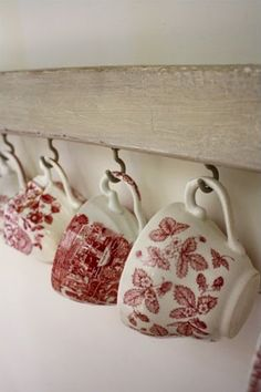 beautiful red transferware - I dream of stumbling upon a set of red and white china... sigh.